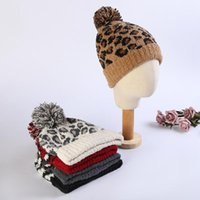 Wholesale Leopard Knitted Hat Wool Beanies Women Fashion Winter Warm Thick Woolen Cap Big Hair Styles Party Hats DDA434