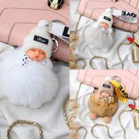 Wholesale fox ball key chains resale online - New Fox fur sleeping doll bag Pendant Ball Sleeping bag ball pendant Internet celebrity plush jewelry car key chain gift cute female JUkKn J