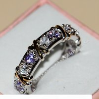 Wholesale silver amethyst wedding band for sale - Group buy Size New Hot Jewelry color sterling silver Amethyst topaz CZ Diamond Wedding Engagement Band RINGS For Women LOVE GIFT