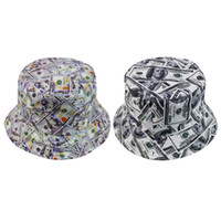 Outdoor Foldable Sun Protection Sunshade Beach Double Sided Summer Reversible Bucket Hat Daily Portable Dollar Print