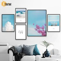 Wholesale paintings clouds sky resale online - Reed Blue Sky Cloud Sea Pink Flower Quotes Wall Art Canvas Painting Nordic Posters And Prints Wall Pictures For Living Room
