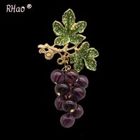 Wholesale hand painted scarves resale online - Ruanhao brooch Scarf Pin high end hand painted purple crystal grape brooch women s pin scarfjewelry HjrE