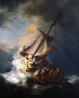 Wholesale wave paintings for sale - Group buy Rembrandt Christ on sail boat with huge ocean waves storm Wall Decor Oil Painting On Canvas Wall Art Canvas Pictures