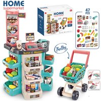 Wholesale dresses girls games resale online - kids store Supermarket shopping cart Cash Register Vegetables Food Play Set Shop Toys for Children Girls Games Dress up games