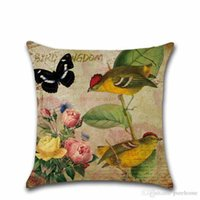 Wholesale vintage bird painting for sale - Group buy Classic Vintage Hand Painted Style Flower and Bird Linen Pillow Case Sofa Cushion Cover CM Home Decor Gift for Housewarming Party