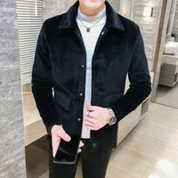 Wholesale korean men wool hat for sale - Group buy gjqdV Autumn and Winter high quality solid color Korean style Windbreaker wool wool slim woolen trench coat short fashion woolen trendy men