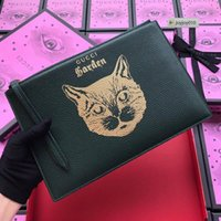 Wholesale cartoon museum resale online - joyjoy010 NYY5 New Museum Limited Edition Cat Head Clutch Dark Green Women Long Wallet Chain Wallets Purse Clutches Evening Key Mini