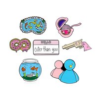 Wholesale fish pins resale online - Cartoon creative fish water midstream pin pink doughnut bubble gum combination Badge brooch Jewelry Gift for Kids zdl0902