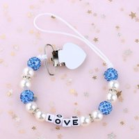 Wholesale baby name pacifier clips for sale - Group buy Nipple Sucette Clips Attache Name Holder Pacifier Strap Xcqgh Chain Baby Bling Personalised Beads Pearl yxlmgz ABC2007
