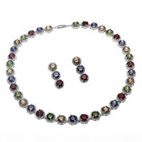 Wholesale cherry necklace set resale online - Natural Gemstone Jewelry Sets Necklace Earrings Sterling Silver Sapphire Cherry Ruby Cubic Zirconia Emerald Women Nice Gifts