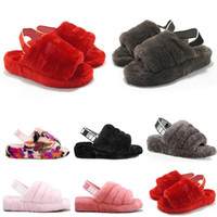 Wholesale new fur boots for sale - Group buy 2020 New Furry Slippers Australia infants fluff yeah slide Women casual shoes womens Luxury Sandals Fur Slides Slippers size ylP6
