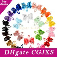 Wholesale button clip pin resale online - Baby Girls Barrettes Bowknot Hairpins Bobby Pin Hair Clip Children Hair Accessories Kids Princess Clip Hair Button Color