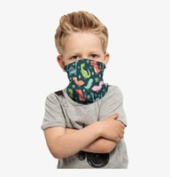 Wholesale silk scarve resale online - Kid s Masks Magic Colorful Print Turbans Children Milk Silk Cycling Kerchief Headgear Dustpoof Scarve Outdoor Washable Reusable Mask D