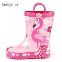 Wholesale toddler water boots resale online - KushyShoo Children s Rubber Boots Outdoor Waterproof D Flamingo Printing Rain Boots Kids Toddler Water Boots Kalosze Dla Dzieci LJ200826