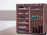 Wholesale shoes designer resale online - Double Layer Shoe Boot Closet Rack Shelf Storage Organizer Cabinet Portable Shoes Storage Holder Non Woven Fabric Anti Dust Rack Hot