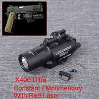 Tactical LED Light X400 Ultra Flashlight with Red Laser Sight Fit 20mm Rail for Gun Hunting Light X400U