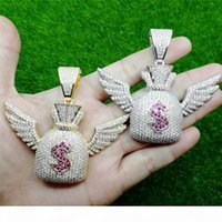 Wholesale dollar chain gold plated for sale - Group buy Hip Hop Iced Out Zircon Dollar Symbol Purse Wing Pendant Necklace Gold Silver Bling Chains Jewelry Men