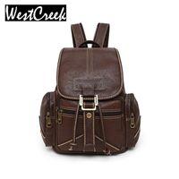 Wholesale vintage college backpacks resale online - Westcreek Women Backpack Female Backbag College Leather Backpack School Backpacks Vintage Student Schoolbag002