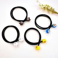 Wholesale small rubber animals resale online - Korean style Korean elegant style colorful small Rubber hair rope animal love soft pottery head rope knotted rubber band hair band