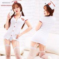 Wholesale button nurse uniform for sale - Group buy Sexy underwear uniform temptation Garter button nurse game stage role play cute sexy Underwear suspender socks suspender socks tJJZ5