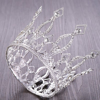 Vintage Rose Gold Round Crystal Tiara Queen Crown for Bridal Headpiece Diadem Prom Jewelry Wedding Hair Accessories Y200807