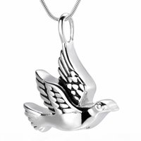 Wholesale dive jewelry resale online - IJD10035 Animal Peace Dove Cremation Urn Pendant Stainless Steel Bird Keepsake Jewelry Ashes Urn Pendant for Pet Human Memorial Gift