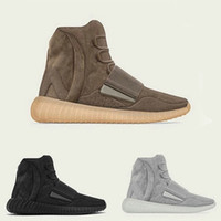 schuhgummi groihandel-High Top Grau OG Colorway Schüchterne Schokolade 750 Triple Black Brown Red Männer Frauen Winterschuhe Kanye West Hellgrau-Gum Glow Sole Sneakers
