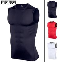 Wholesale men tight vest running resale online - Sports Vest For Men Stretch Fitness Clothes Gym Training Running Speed Dry running sportwear male tight Vest