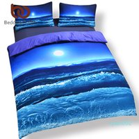 Wholesale hot 3d bedding set for sale - Group buy Hot Seller Moon And Ocean Bed Spread Cool D Print Bedlinen Soft Blue Bedding Set Or Twin Queen King