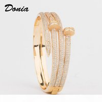 Wholesale donia resale online - Donia jewelry European and American fashion exaggeration classic line micro inlaid Zirconia Bracelet Ring Set women s bracelet ring set