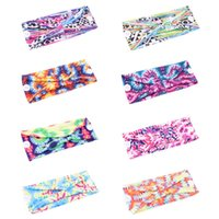 Wholesale wide headbands for yoga for sale - Group buy Sports Headband With Button Keep Ear From Pain Tie Dyed Yoga Headband For Women Fitness Hair Band Wide Cotton Hair Accessories