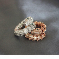 Wholesale snakes rings resale online - Sterling Silver Snake Open Rings Womens Natural Diamond Ring Rose Gold Woman Engagement Animal Rings Fine Jewelry
