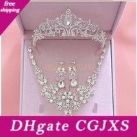 Wholesale prom jewelry sets tiaras resale online - 2020 Fashion Crystal Bridal Jewelry Sets Wedding Crown Earrings Necklace Cheap Wedding Bridal Hair Accessories Women Prom Bride Tiara Crowns