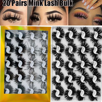 20 Pairs Boxed 25mm Mixed Styles 3D Mink False Eyelashes Natural Long Lashes Handmade Wispies Bushy Fluffy Sexy Eye Makeup Tools