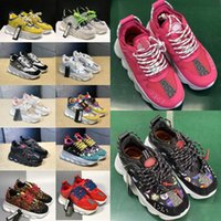 Wholesale sneaker designs resale online - New Reaction Running Chain Design Shoes Men Womens District Medusa Habanero Link Embossed Sole Trainer Flair Sneakers ufRq