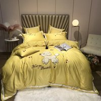 Wholesale 7pcs bedding set for sale - Group buy 4 Queen King size Bue Yellow Bedding Set Luxury Egyptian Cotton Bedsheets Fitted sheet set Duvet Cover Bed ropa de cama