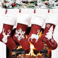 Wholesale christmas stockings gift bags resale online - Christmas Stockings Decor Christmas Trees Ornament Party Decorations Santa Christmas Stocking Candy Socks Bags Xmas Gifts Bag