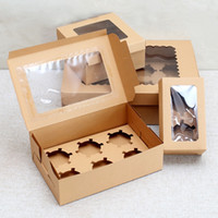 Wholesale cupcake cakes resale online - 10 Windowed Cupcake Boxes White Brown Kraft Paper Cake Muffin Cookies Candy Packing Box Gift Packaging For Wedding Festival Party