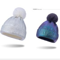 Wholesale cloche hat resale online - 2020 Winter Warm Pom Beanies Gold Blocking Knit with Pom Ball Hat Women Men Trendy Outdoor Sports Tuque Crochet Caps OOA9151