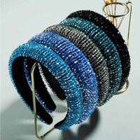 Wholesale bling fashion accessories resale online - Fashion Bling Headwear Wide Sparkling Rhinestone Hair Bands Shining Blue Crystal Headbands for Women Styles Hair Accessories GWE572