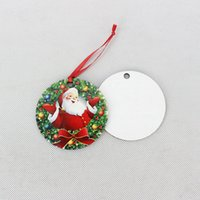 Wholesale print hanging resale online - Sublimation Blanks Christmas Ornament Wooden Christmas Tree Ornament Hanging Pendant Heat Press Transfer Printing Xmas Decoration CYZ2817