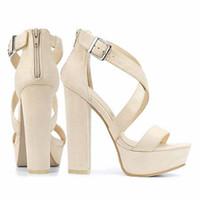 Wholesale blocks heels resale online - LOSLANDIFEN Women s Open Toe Cross Strap Buckle Wedge Platform Sandals High Heel Chunky Block Heels Dress Party Wedding Shoes