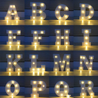 Wholesale marquee sign light resale online - 26 Letters White Led Night Light Marquee Sign Alphabet Lamp For Birthday Wedding Party Bedroom Wall Hanging Party Decoration Za4919