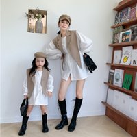 Wholesale mommy me shirts resale online - Fall new Mommy and me matching outfit girls lapel A suit shawl white puff long sleeve shirt dress mother and daughter outfits A3921