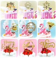 Wholesale party baking resale online - Birthday Party Decorations Acrylic Cake Plugin Happy Birthday Letters Card cm Cake Decorations Baking Decoration Cake Flag XD23846