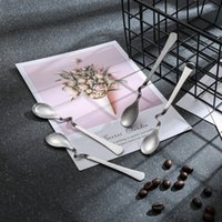Wholesale design kitchen tools resale online - Hangable Coffee Spoon Stainless Steel Design Coffee Spoons Dessert Spoon Home Kitchen Tools Wedding Party Flatware HHA1566