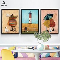 Wholesale best abstract art painting canvas resale online - Family Happiness Posters and Prints Nursery Best Friends Figure Canvas Painting Kids Wall Art Pictures for Children Living Room