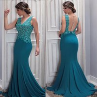 Wholesale aqua backless prom dress resale online - Stunning Aqua Appliques Sequins Mermaid Evening Dresses Sexy Sheer Backless V Neck Arabic Celebrity Prom Gowns Custom Made Mother Dress