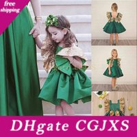 Wholesale kids modelling short clothes for sale - Group buy Baby Girl Green Sequins Silk Bow Short Flowers Girl Dress Sleeve Tutu Dress Spring Summer Hot Party Birthday Formal Dress Kids Clothing
