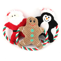 Wholesale cartoon dogs resale online - Pet Plush Toy Vocal Dog Cartoon Cotton Rope Christmas Toy Christmas Puppy Molar Bite Doll Pets Christmas Gifts